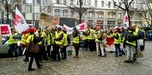 Warnstreik der Beschäftigten der Ki.D.T. gGmbH am 28. Januar 2016.