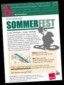 Einladungsflyer Sommerfest FB13 Berlin-Brandenburg
